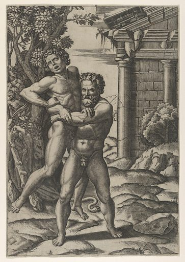 Hercules holding Antaeus by the waist and lifting him off his feet (ca. 1520–22). Accession number: 49.97.121.