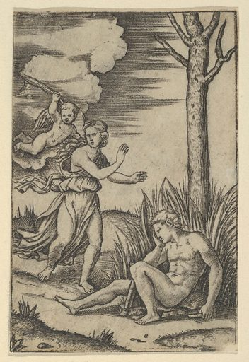 Diana followed by cupid at left, Endymion at right (ca. 1500–1534). Accession number: 49.97.84.