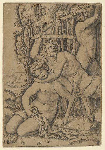A satyr fighting for a nymph, after Francia (ca. 1510–20). Accession number: 49.97.101.