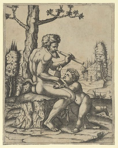 A faun sitting on a rock holding a flute in his left hand; a child stands between his knees (ca. 1510–27). Accession number: 29.44.12.