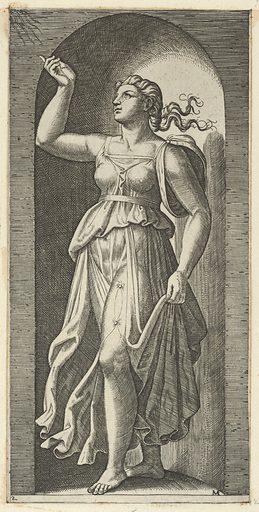 Faith personified by a woman standing in a niche, pointing to rays in the upper left, from 'The Virtues' (ca. 1515–25). Accession number: 26.50.1(68).