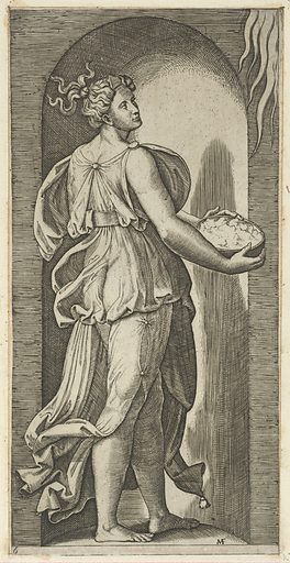 Hope personified as a woman standing in a niche facing right, holding a container of unleavened bread in both hands, from 'The Virtues' (ca. 1515–25). Accession number: 26.50.1(69).