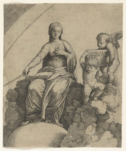 A personification of Philosophy sitting on clouds with her feet resting on a globe, two putti at right holding a tablet (ca. 1510–15). Accession number: 18.20.5.