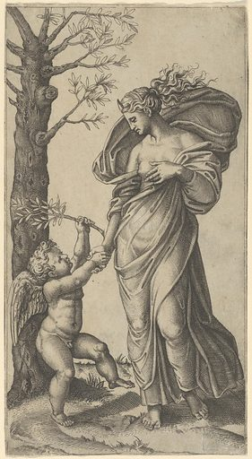 An allegory of Peace; Peace personified as a woman standing in a landscape  holding the left hand of a winged genius, tree at left (ca. 1517–20). Accession number: 49.97.137.