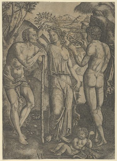 An allegorical scene; a young woman at centre holding a wreath above her head, at left is a old man leaning on a stick, a younger man at right who holds a small dragon (ca. 1515–27). Accession number: 29.44.11.