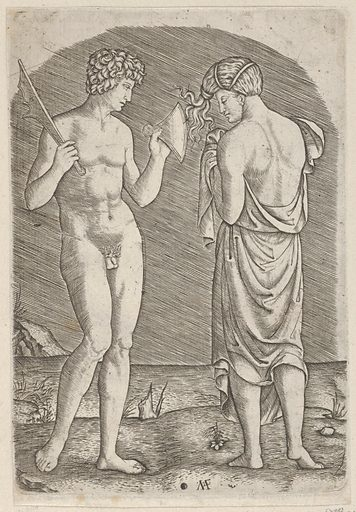 A naked man at left showing an axe to a woman at right (ca. 1510–27). Accession number: 59.570.290.