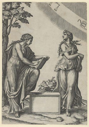 Two women of the zodiac standing beneath the signs of Libra and Scorpio (ca. 1517–20). Accession number: 25.2.21.