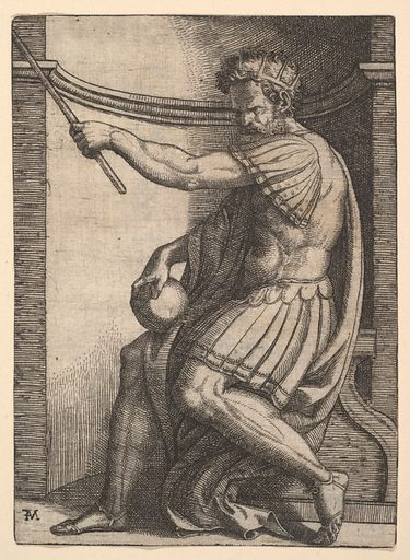 A Roman emperor sitting in a niche holding a sceptre in his raised left hand and a globe in his right hand (ca. 1500–1534). Accession number: 49.97.153.