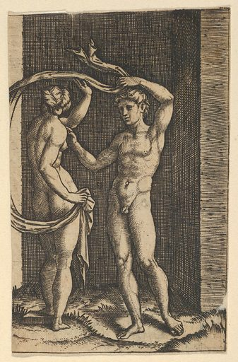 Nude woman viewed from behind holding fabric which blows behind her, looking at male nude standing in contrapposto in front of her. (ca. 1500–1534). Accession number: 49.97.125.