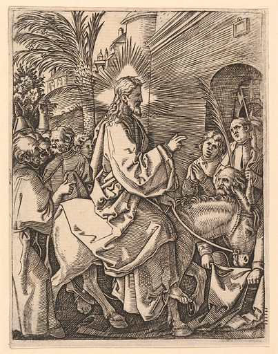 The Entry into Jerusalem;  Christ riding on a donkey towards an arched city gate; an elderly man spreads out his cloak on the road, after Dürer (ca. 1500–1534). Accession number: 17.37.241.