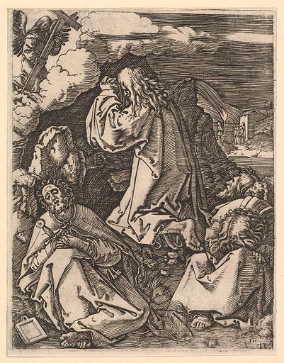 Christ praying on Mount of Olives; Roman soldiers entering through garden gate in far background, after Dürer (ca. 1500–1534). Accession number: 17.37.245.