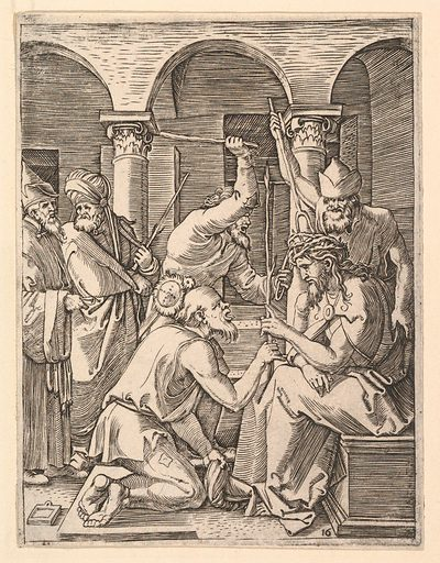 The Crown of Thorns; men putting crown of thorns on Christ who blesses kneeling man, after Dürer (ca. 1500–1534). Accession number: 17.37.251.