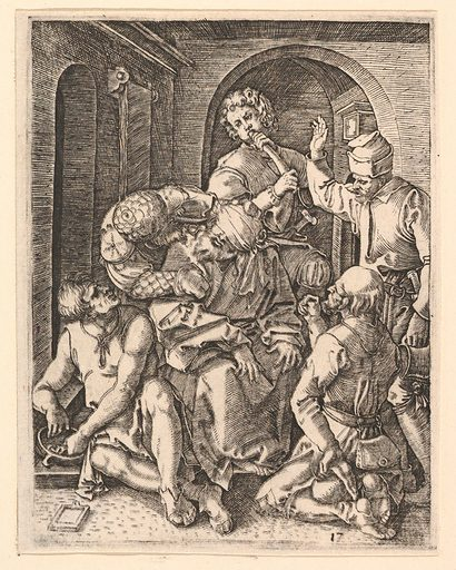 The mocking of Christ who is seated in center, blindfolded, after Dürer (ca. 1500–1534). Accession number: 17.37.252.