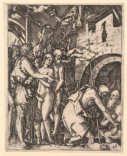 Christ in Limbo; Christ walking down to the arched gateway to Limbo on the right, on the left a group of people including Moses, John the Baptist, Adam and Eve, after Dürer (ca. 1500–1534). Accession number: 17.37.262.
