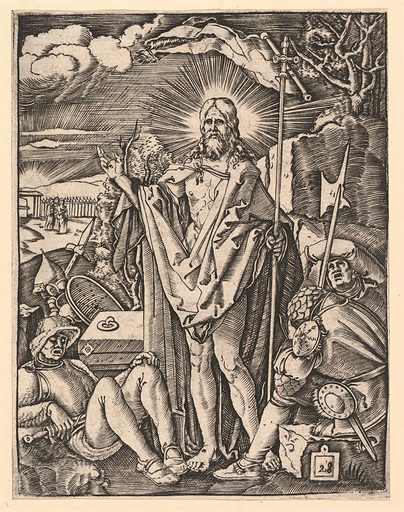 The Resurrection; Christ standing in front of closed tomb, holding a flag and giving a blessing, guards sleeping in the foreground, after Dürer (ca. 1500–1534). Accession number: 17.37.263.