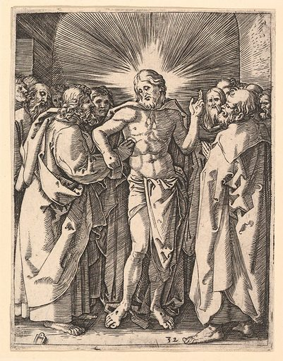 The Doubting Thomas; Christ among his disciples, Saint Thomas touching Christ's wound, after Dürer (ca. 1500–1534). Accession number: 17.37.267.