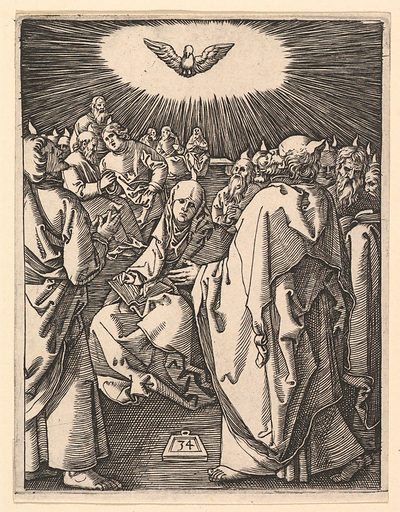 The Pentecost; the Holy Dove appears above, below sits the Virgin surrounded by  Apostles, after Dürer (ca. 1500–1534). Accession number: 17.37.269.