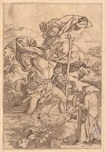 Saint Christopher crossing the river with Christ in the form of a putto on his shoulders and a hermit in the foreground, after Dürer (ca. 1500–1534). Accession number: 1986.1180.231.
