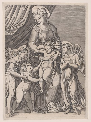 The Virgin, the Infant Christ, Infant Saint John, and Two Angels (ca. 1514–36). Accession number: 24.63.1158.