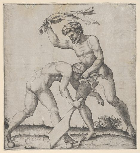 A naked man holding Fortune by the hair and whipping her (ca. 1510–27). Accession number: 49.97.134.