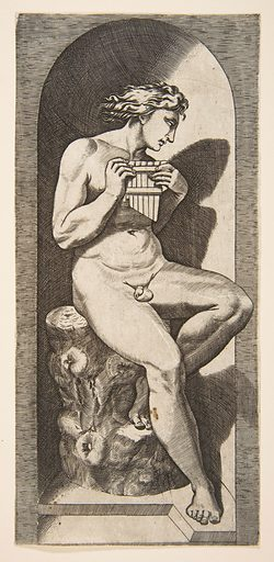 Olympus naked seated on a tree stump holding pipes, set within a niche (ca. 1515–27). Accession number: 17.50.16-67.