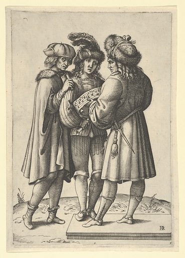 Three male singers standing together holding a sheet of music (ca. 1599–1641). Accession number: 62.602.71.