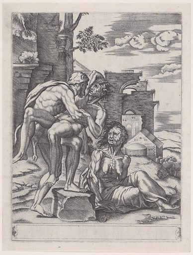 Hercules and Antaeus (dated 1533). Accession number: 48.176.4.