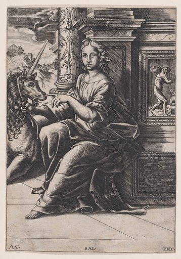 Chastity, a woman seated, a unicorn to her right (c. 1515–30). Accession number: 27.82.6.