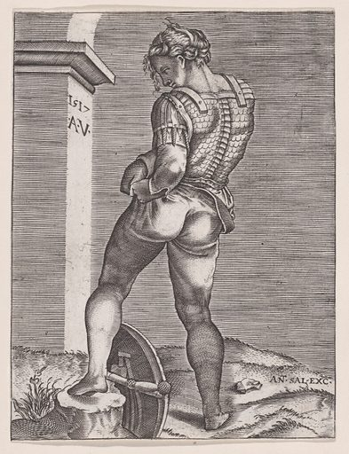 Soldier Attaching His Breeches to His Breast plate (1517). Accession number: 49.50.8.