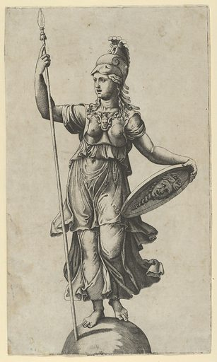 Pallas Athena standing on a globe, a spear in her left hand, a shield in her right (ca. 1520–27). Accession number: 49.97.118.