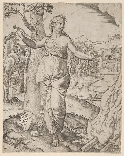 Dido holding a dagger in her right hand, left arm outstreched (ca 1510–30). Accession number: 17.50.96.