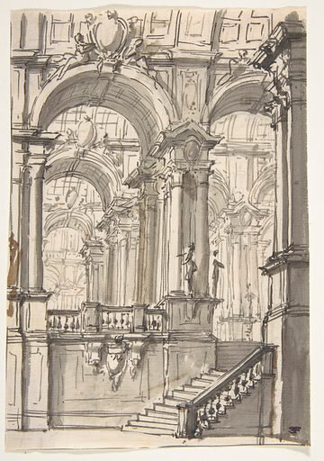 Design for a Stage Sets:  Anteroom with Stairs Leading to a Gallery Composed of a Series of Connected Barrel Vaults (1698–1765). Accession number: 1974.605.1.