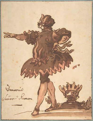 Costume Design for a Demon (Señor Remon), for a performance held during the celebration of the wedding of Marie-Louise de Bourbon with Archduke Léopold de Habsbourg-Lorraine, hosted by the Marquis of Ossuna in Madrid in 1764 (ca. 1764). Accession number: 2000.637.1.