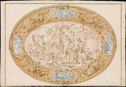 Design (Full-Scale Working Drawing) for a Large Oval Silver Dish with Silver Gilt Border Showing Vulcan's Forge (1646–1722). Accession number: 1971.513.18.