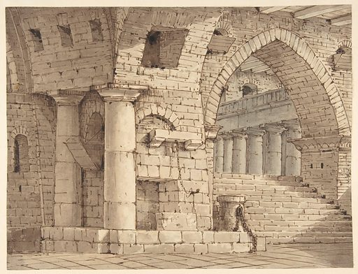Design for a Stage Set Showing the Interior of a Fortress or Dungeon. (1751–1831). Accession number: 1971.513.69.