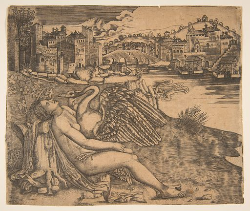 Naked woman (Leda) and swan (Zeus) embrace on a river bank; two figures jump into the water at middle ground; a town and bridge in the background. (early 16th century). Accession number: 29.44.25.