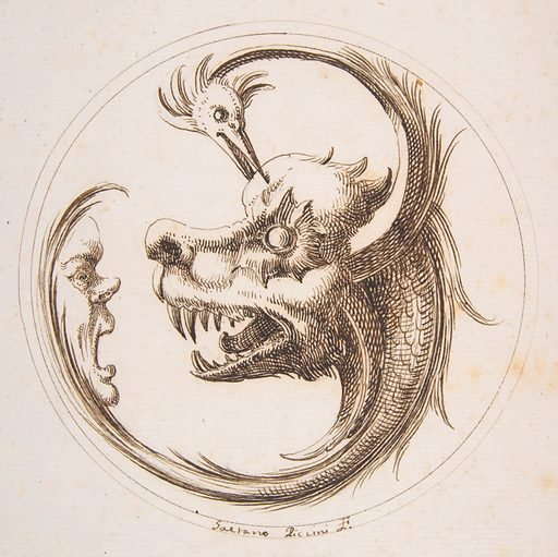 Two Beasts and a Human Mask within a Circle (1727). Accession number: 60.541.1.