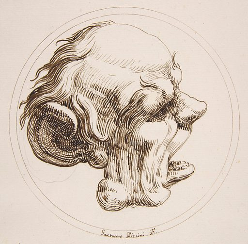 Grotesque Head With a Large Ear and an Open Mouth Looking to the Right Within a Circle (1727). Accession number: 60.541.7.