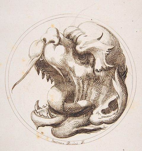 Large Grotesque Head With an Open Mouth Looking to the Left Within a Frame (1727). Accession number: 60.541.9.