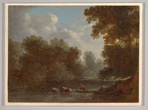 A Wooded River Landscape with a Fisherman in a Boat (1826). Accession number: 2001.728.1.