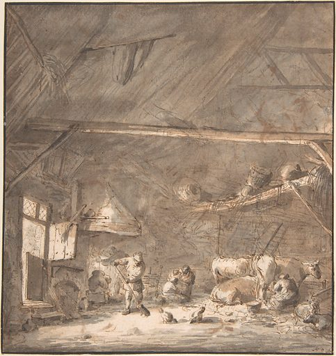 Barn Interior with Peasants and Cows<br /> Verso: Six Studies of Peasants (17th century). Accession number: 1995.198.