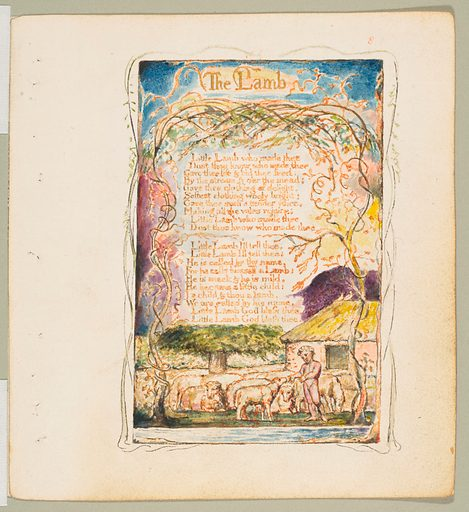 Songs of Innocence and of Experience: The Lamb (ca. 1825). Accession number: 17.10.8.