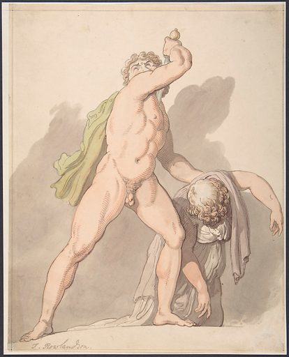 Standing Nude Man Supporting Fainting Female (Ludovisi Gaul in the Uffizi) (1780–1827). Accession number: 69.131.6.