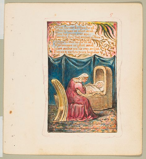 Songs of Innocence and of Experience: Cradle Song (second plate): Wept for me for thee for all (ca. 1825). Accession number: 17.10.17.