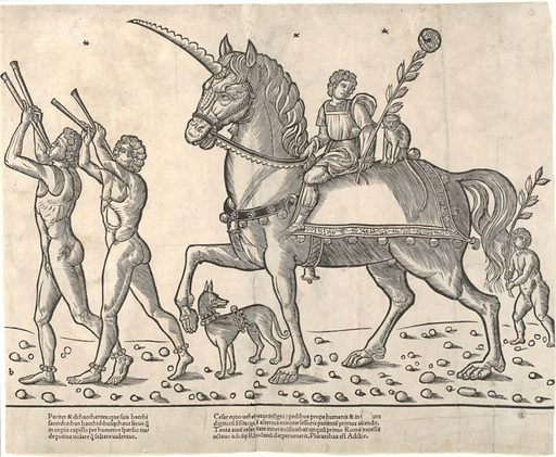 Trumpeters leading Ceasar on horseback, from 'The Triumphs of Caesar' (1504). Accession number: 27.54.120.