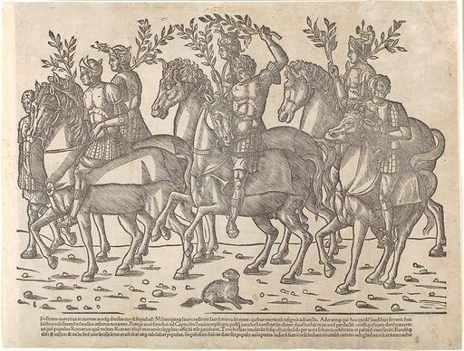 Figures on horseback, from