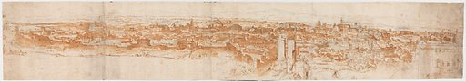 View of Rome from the Janiculum in the South-West; verso: Sketch of buildings and plants (ca. 1540–50). Accession number: 52.124.1.