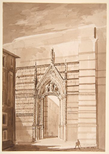 View of the Entrance to the Piazza del Duomo from the Piazza San Giovanni in Siena (1816–73). Accession number: 33.13b.