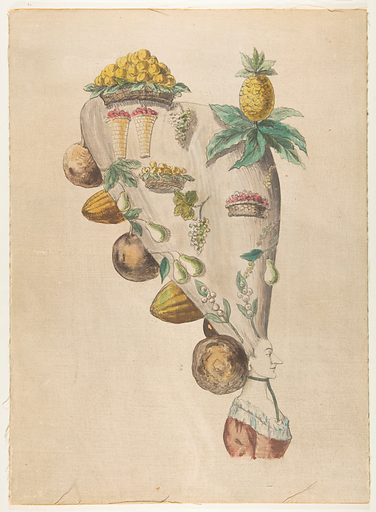 Fantastic Hairdresses with Fruit and Vegetable Motifs (18th century). Accession number: 65.692.9.