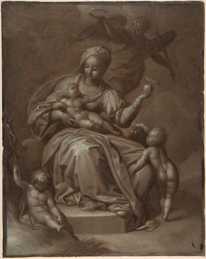 Recto: Virgin and Child, and Saint John the Baptist; Verso: Summary sketches, possibly the Virgin and Child (ca. 1580–90). Accession number: 2002.88.
